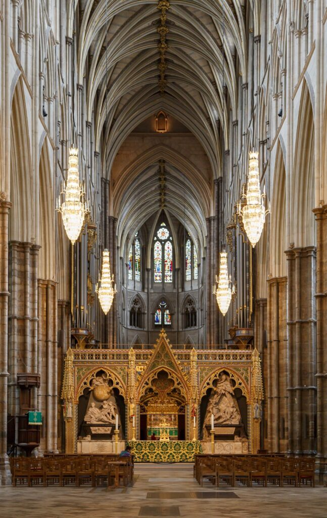 The interior of Westminster Abbey in London.