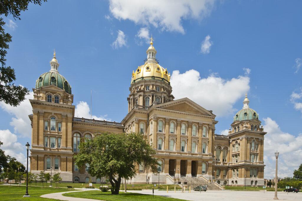 The Iowa State Capitol in Des Moines, Iowa.