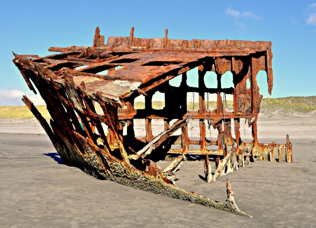 The Iredale wreck in Seaside, Oregon.