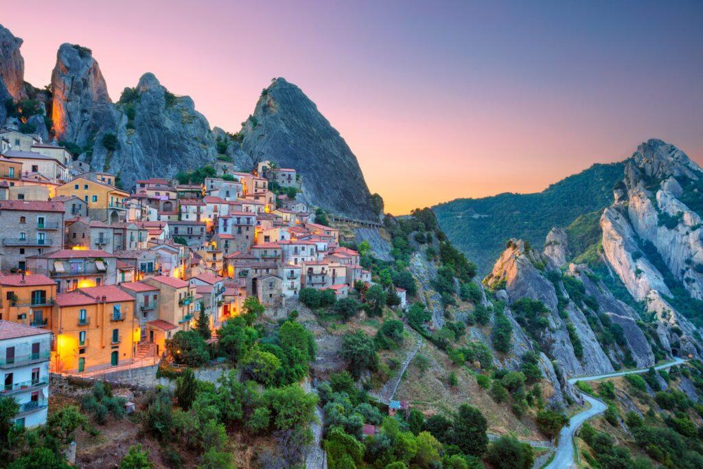 The Italian town of Castelmezzano.