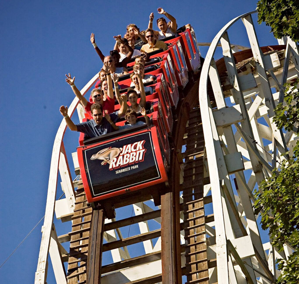 The Jack Rabbit roller coaster at the Seabreeze Amusement Park.