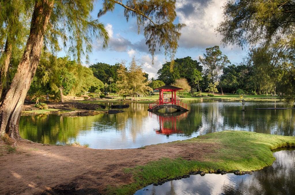 The Japanese Gardens at Liliuokalani Park in Hawaii.