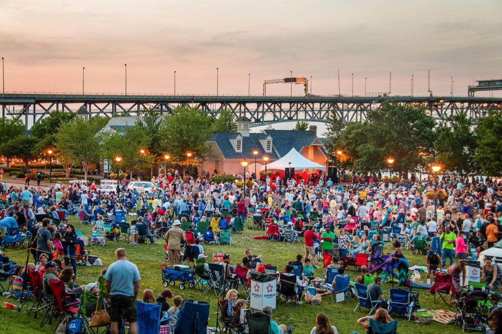 The jazz band concert at the Yorktown Riverwalk Landing Stage
