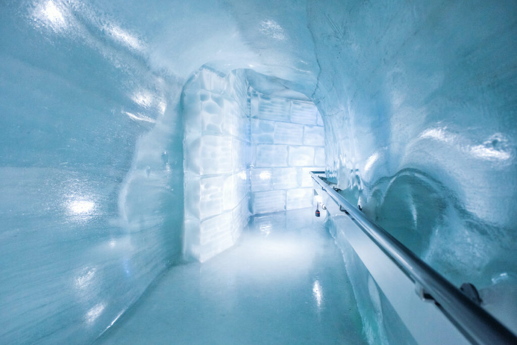 The Jungfraujoch Ice Palace in Grindelwald, Switzerland.
