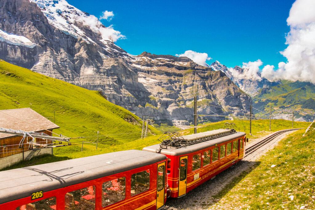 The Jungfraujoch Railway in Switzerland.