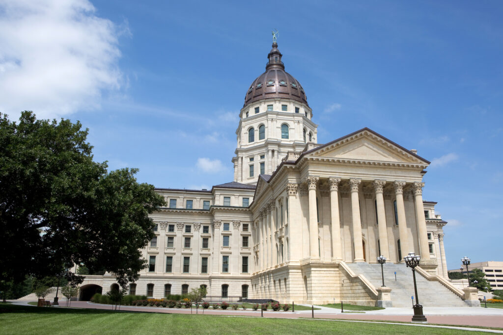 The Kansas State Capitol building in Topeka.