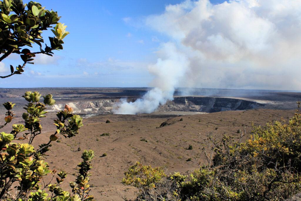 The Kilauea Caldera and the Halemaumau Crater.