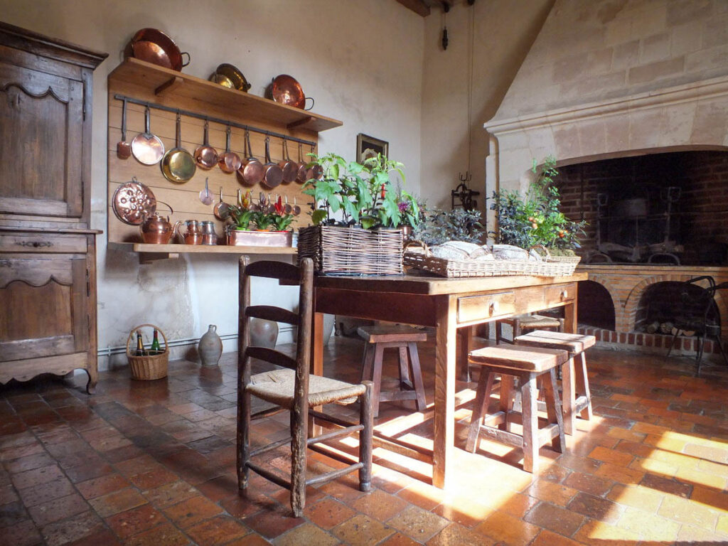 The kitchen at the Chateau De Villandry.