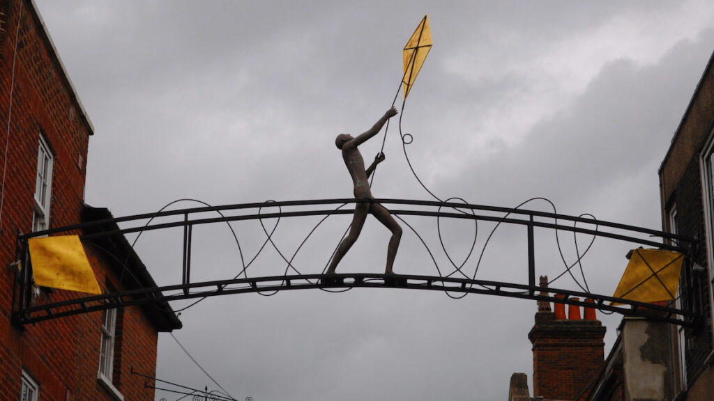 The Kite Flyer, a sculpture in Winchester, England.