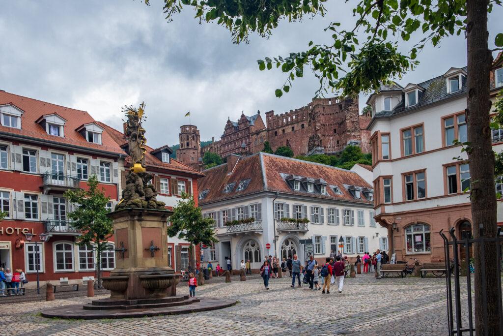 The Kornmarkt in Heidelberg, Germany.