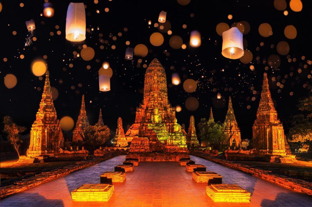 The Krathong Festival in Ayutthaya, Thailand.