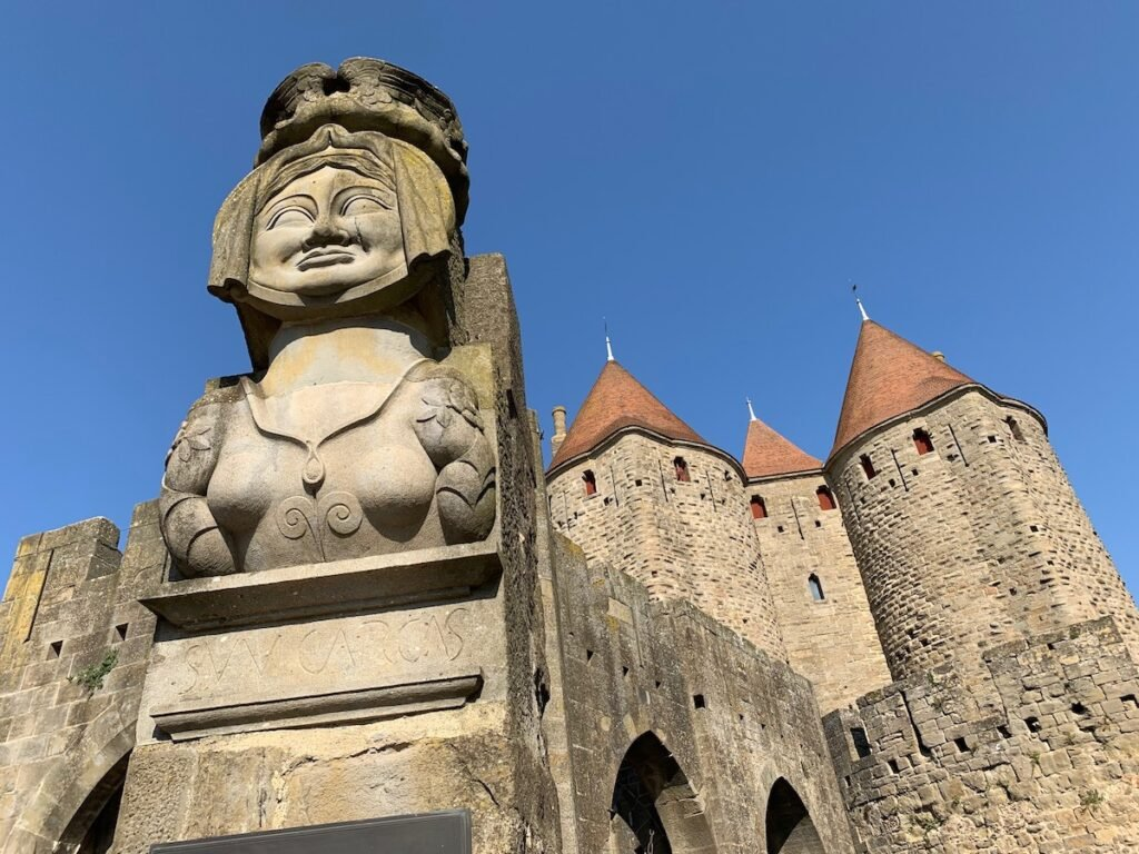 The Lady Carcas Statue in Carcassonne.