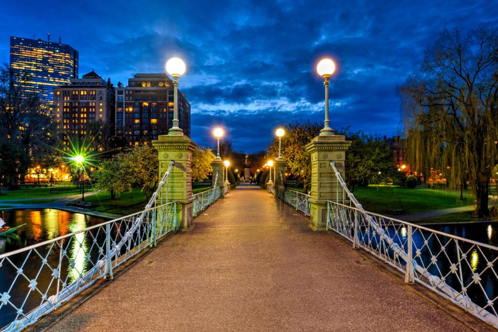 The lagoon bridge in Boston Commons