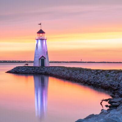 The Lake Hefner Lighthouse in Oklahoma.