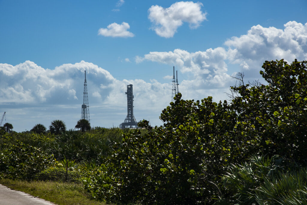 The launch towers near the Canaveral National Seashore.