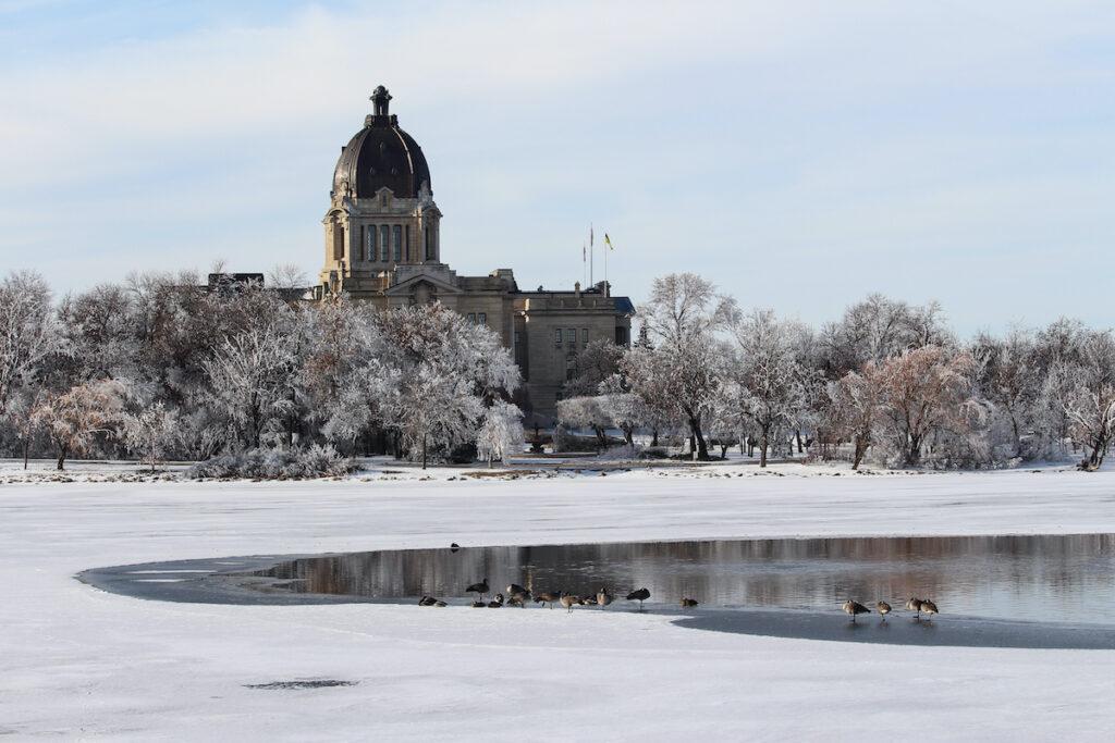 The Legislative Building in Regina, Saskatchewan during winter.