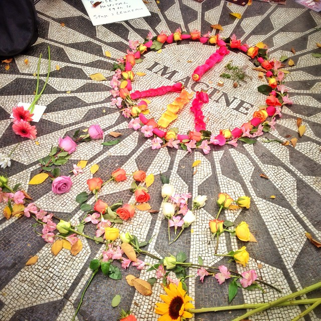 The Lennon memorial at Strawberry Fields, Central Park.