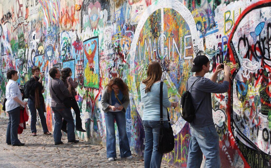 The Lennon Wall in Prague.