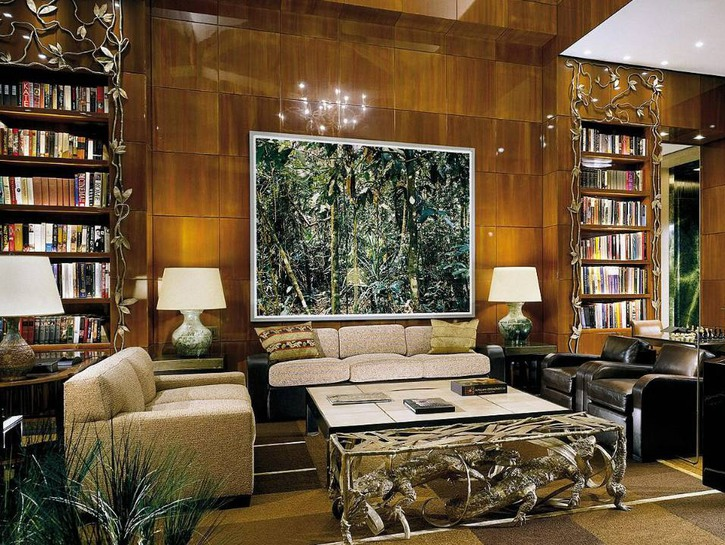 The library in the Ty Warner Penthouse, Four Seasons, New York.
