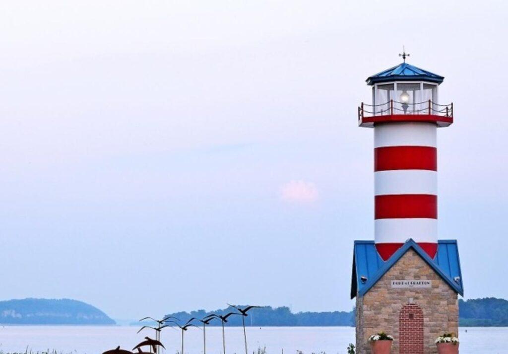 The lighthouse along Grafton's historic riverfront.