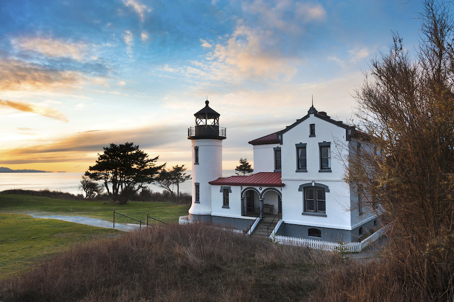 The lighthouse at Fort Casey Historical State Park.