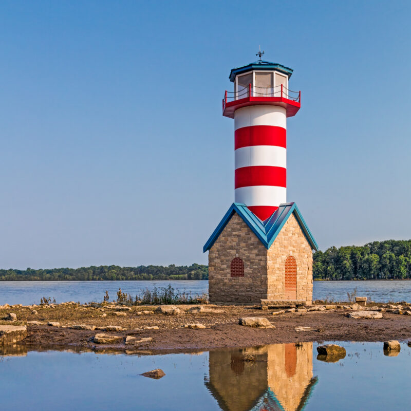 The lighthouse in Grafton, Illinois.