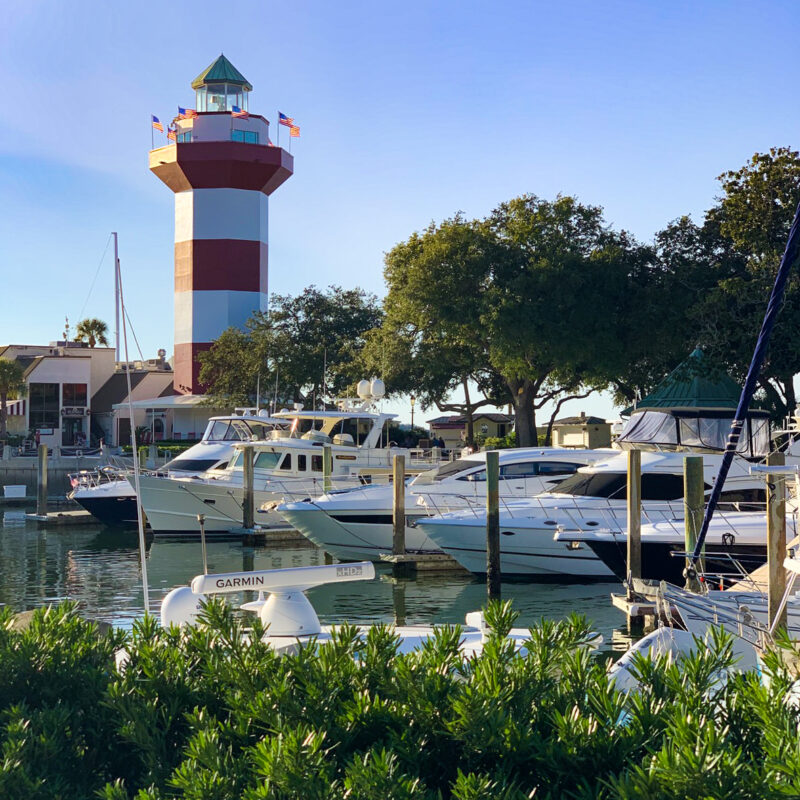 The lighthouse in Harbour Town on Hilton Head island.