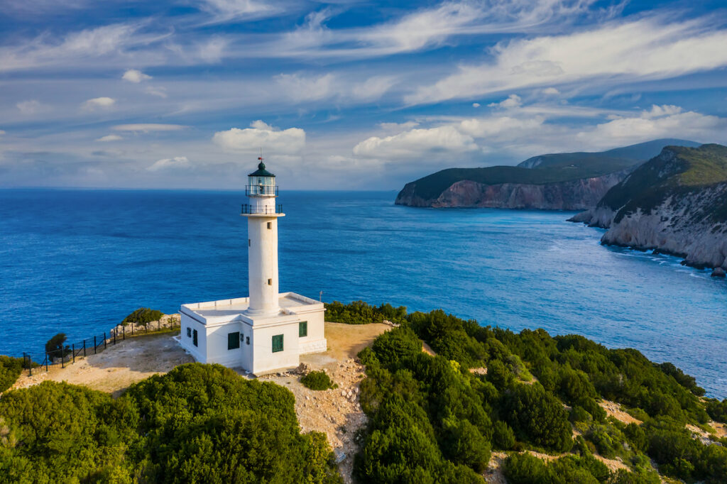 The Lighthouse of Lefkas in Greece.