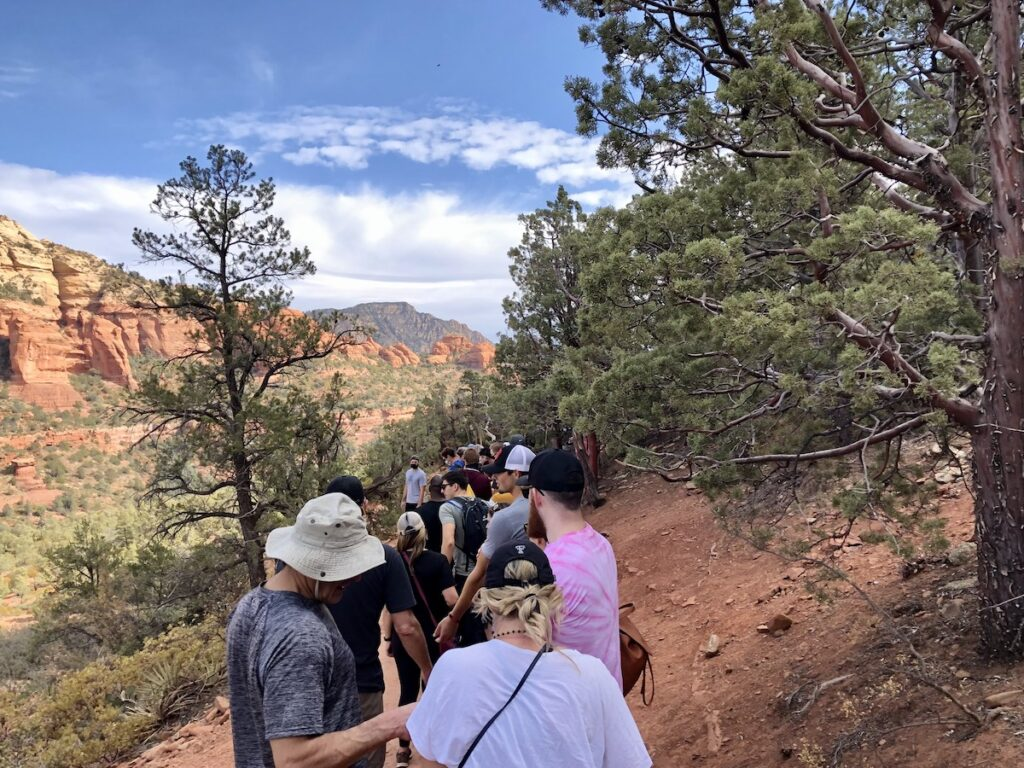 The line for photos at the Devil's Bridge.