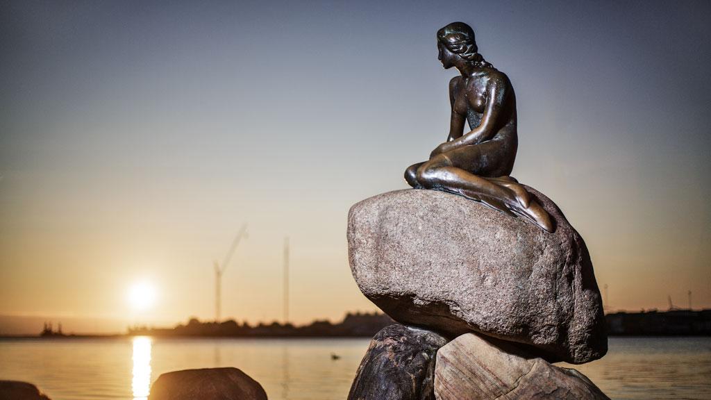 The Little Mermaid statue in Copenhagen.