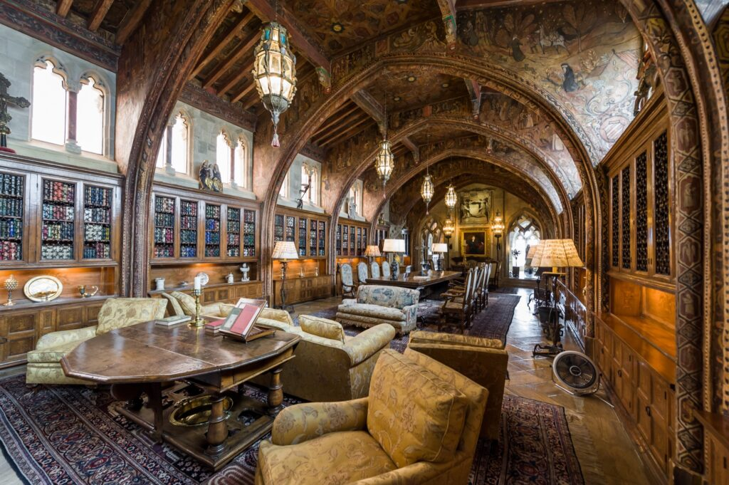 The living room in Hearst Castle.