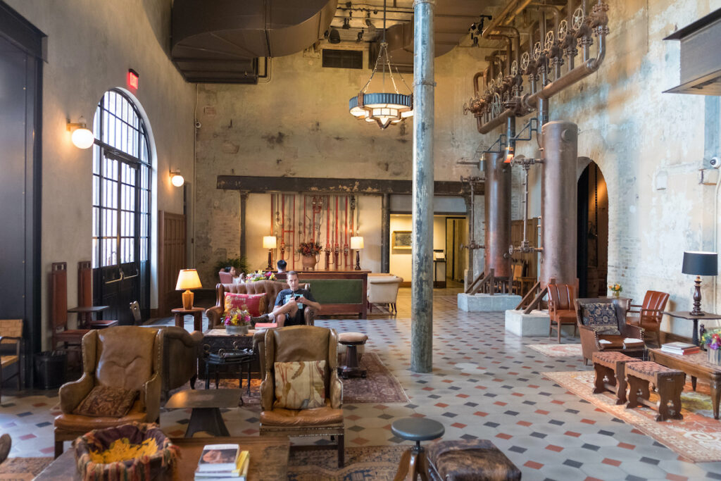 The lobby of historic Hotel Emma in San Antonio, Texas.