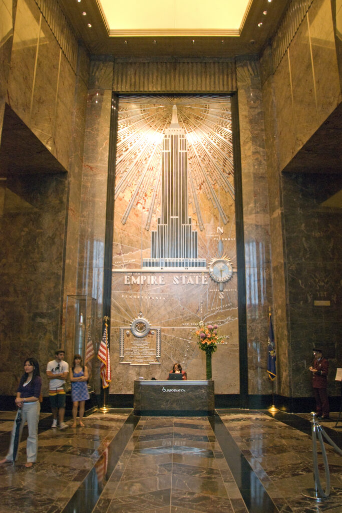 The lobby of the Empire State Building in New York City.