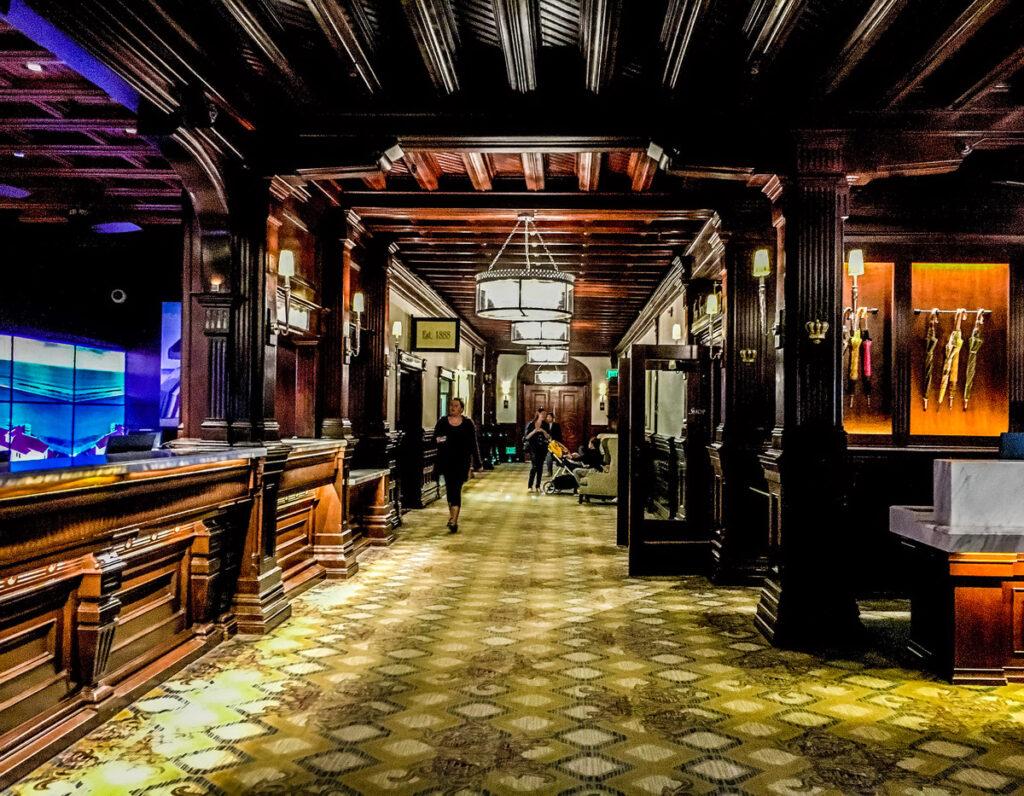 The lobby of the Hotel del Coronado in California.