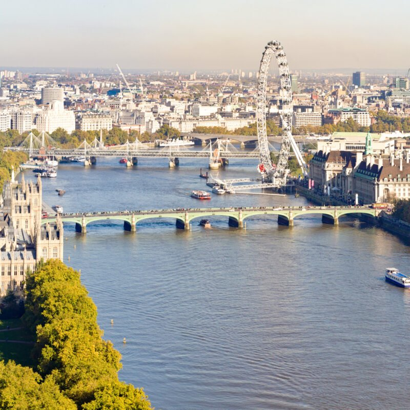 The London Eye along the banks of the River Thames.