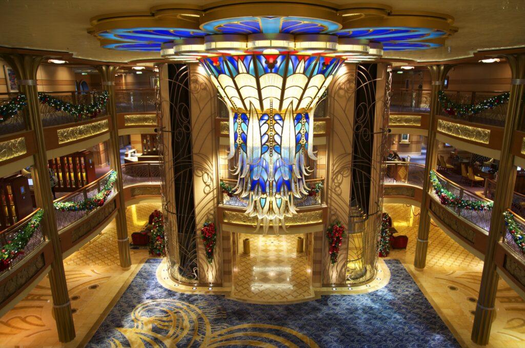 The luxury interior of a Disney cruise ship.