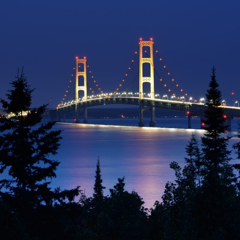 The Mackinac Bridge at night time.