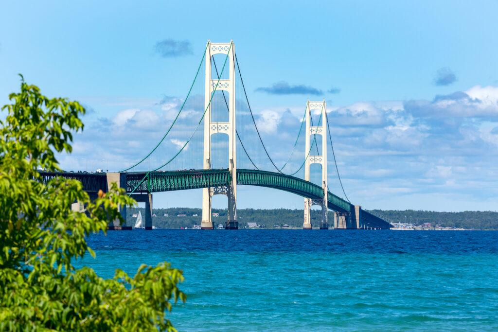 The Mackinac Bridge in Michigan.