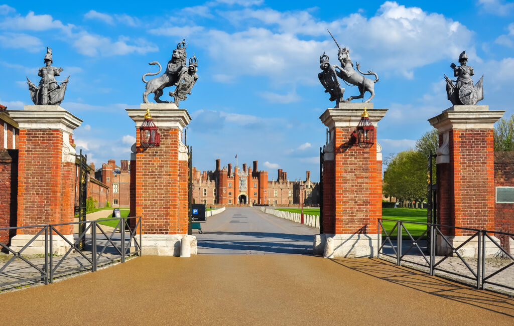 The main entrance to Hampton Court Palace.