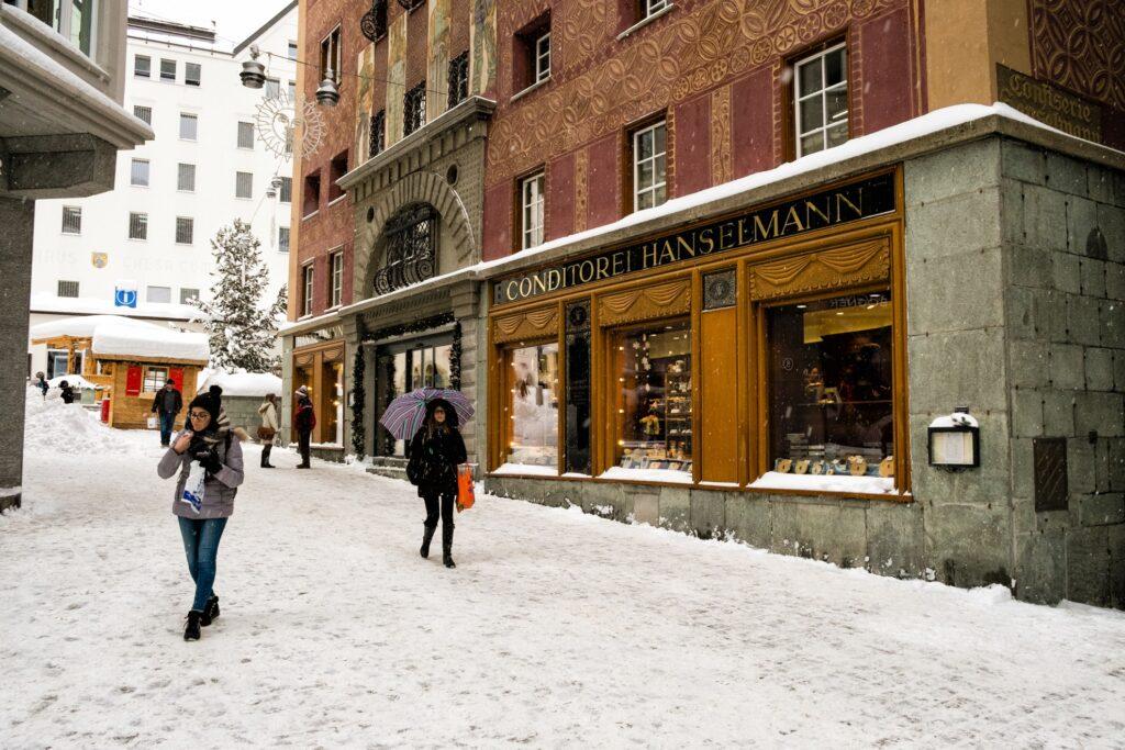 The main shopping street in Saint Moritz.