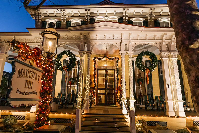 The Mainstay Inn in Cape May, decorated for Christmas.