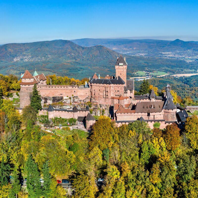 The majestic Haut-Koenigsbourg Castle in France.