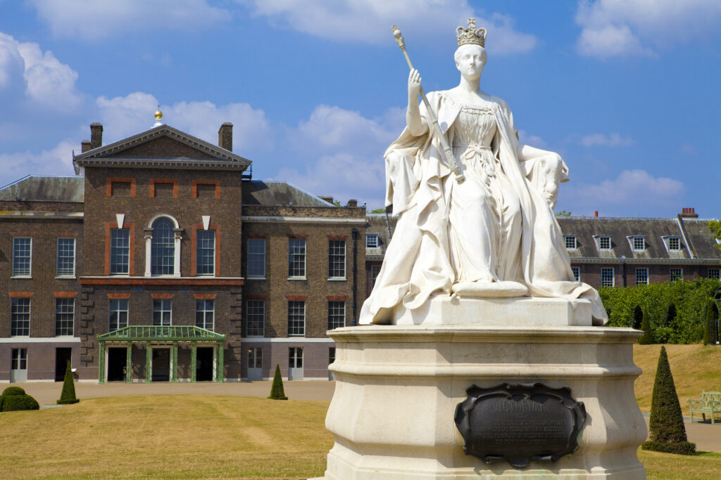 The marble statue of Queen Victoria at Kensington Palace.