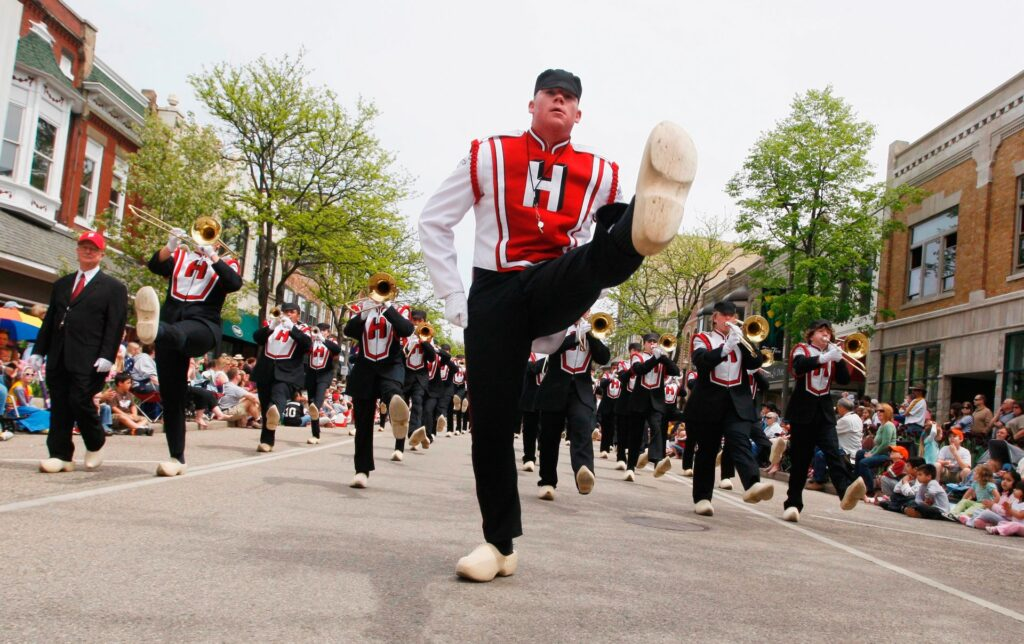 The Marching Dutchman Band at the Tulip Time festival.