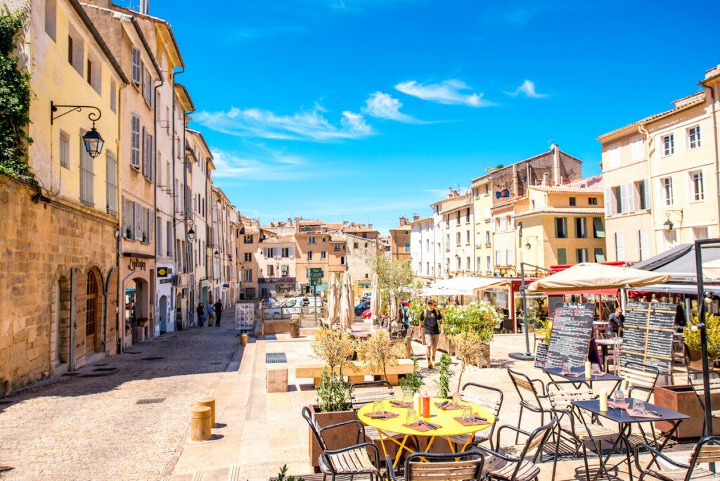 The market square of Aix-En-Provence, France.
