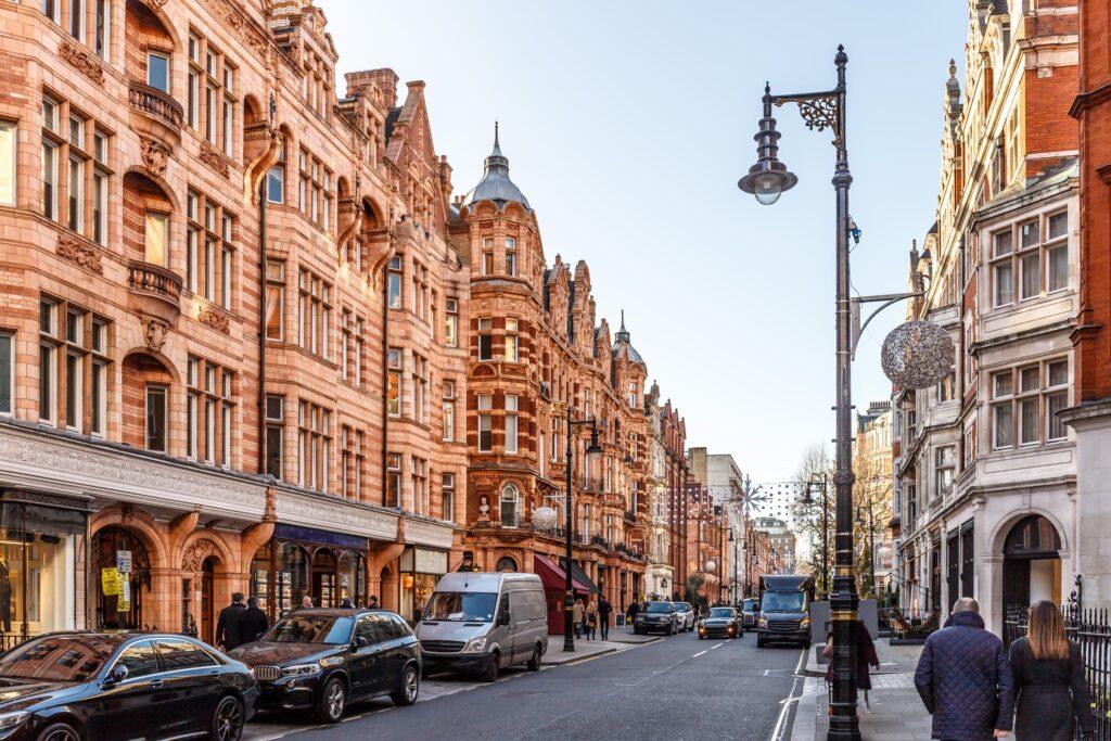 The Mayfair neighborhood of London.