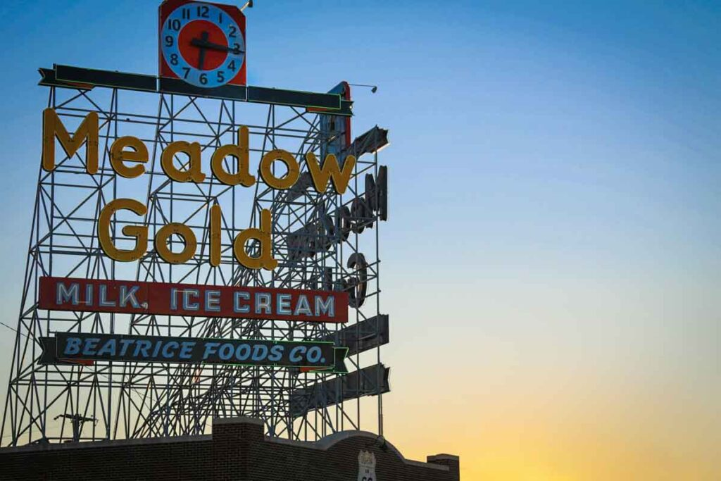 The Meadow Gold sign in Tulsa, Oklahoma.