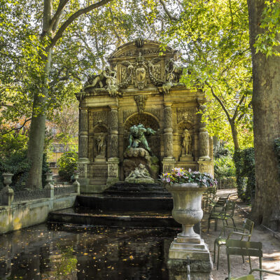 The Medici Fountain at Luxembourg Gardens in Paris, France.