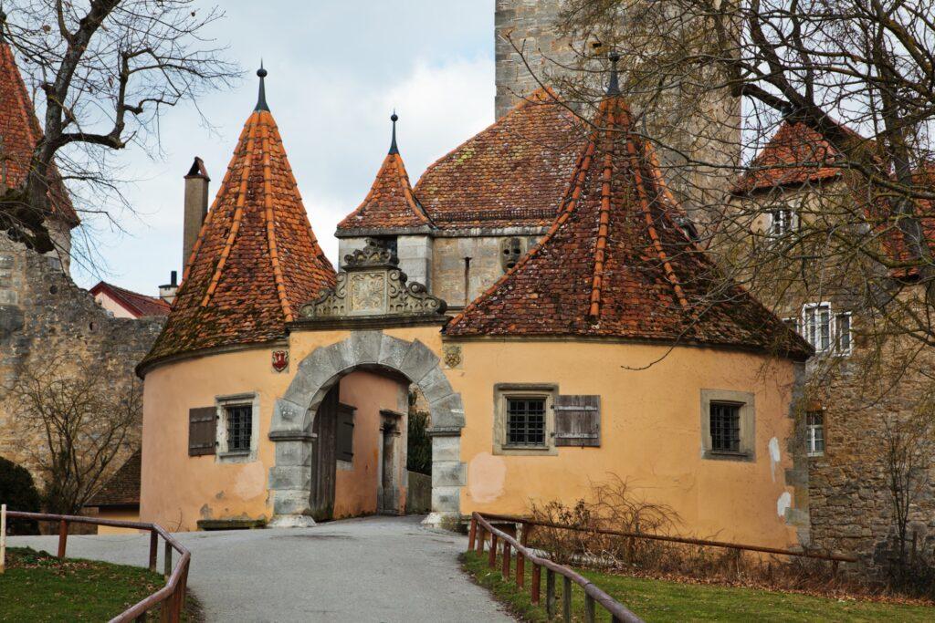 The medieval entrance gate to Rothenburg ob der Tauber.