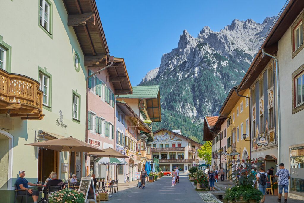 The medieval town of Mittenwald in Germany.